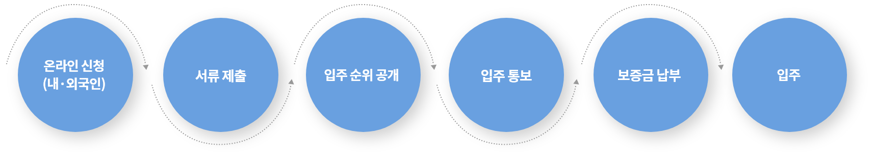 온라인 신청(내·외국인) > 서류제출 > 입주 순위 공개 > 입주 통보 > 보증금 납부 > 입주
